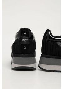 Czarne buty sportowe Blauer z okrągłym noskiem, na średnim obcasie