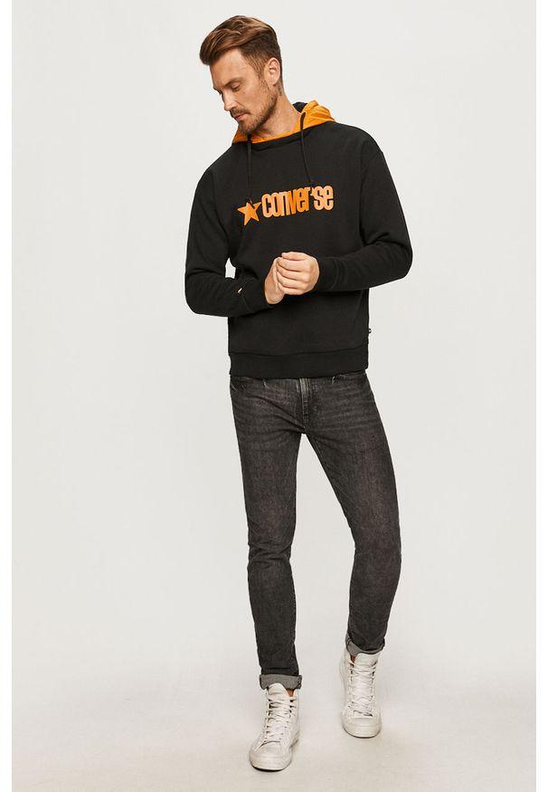 Czarna bluza nierozpinana Converse casualowa, z nadrukiem, z kapturem, na co dzień