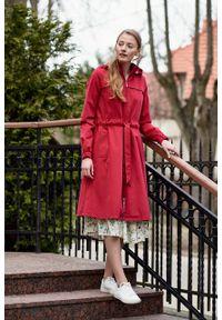 Marie Zélie - Parka Linda bawełna z elastanem czerwona. Kolor: czerwony. Materiał: elastan, bawełna. Długość: długie. Sezon: lato
