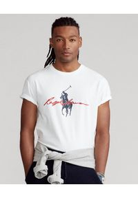 Ralph Lauren - RALPH LAUREN - Biały t-shirt Big Pony Custom Fit. Typ kołnierza: polo. Kolor: biały. Materiał: bawełna. Wzór: nadruk
