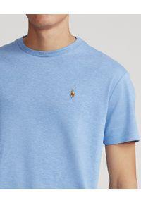 Ralph Lauren - RALPH LAUREN - Niebieski t-shirt Custom Fit Soft Cotton. Typ kołnierza: polo. Kolor: niebieski. Materiał: bawełna. Wzór: haft, kolorowy #4