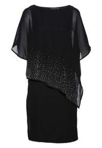 Sukienka ołówkowa z połyskującymi kamieniami bonprix czarny. Kolor: czarny. Wzór: aplikacja. Typ sukienki: ołówkowe. Styl: elegancki