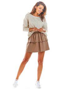 Infinite You - Beżowa Rozkloszowana Mini Spódnica z Falbanką. Kolor: beżowy. Materiał: bawełna, lycra
