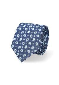 Lancerto - Krawat Granatowy Paisley. Okazja: do pracy, na co dzień. Kolor: niebieski. Materiał: tkanina, mikrofibra. Wzór: paisley. Styl: klasyczny, wizytowy, casual