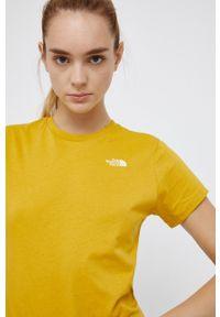 The North Face - T-shirt Street. Kolor: żółty. Materiał: dzianina. Wzór: gładki, aplikacja. Styl: street