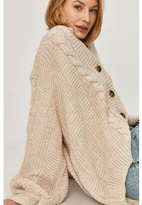 Beżowy sweter rozpinany Answear Lab gładki, wakacyjny