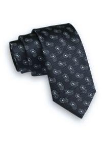 Ciemny Granatowy Krawat -Angelo di Monti- 6 cm, Męski, w Drobny Wzór Paisley, Łezki. Kolor: niebieski. Wzór: paisley. Styl: wizytowy, elegancki
