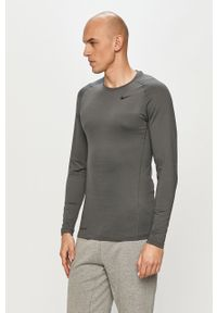 Szara koszulka z długim rękawem Nike na co dzień, casualowa