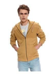 TOP SECRET - Rozpinana bluza z łączonych materiałów. Kolor: brązowy. Materiał: materiał. Długość rękawa: długi rękaw. Długość: długie. Sezon: lato