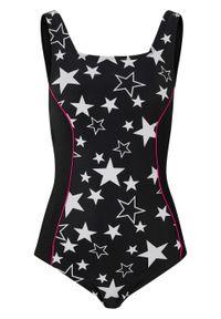 Kostium kąpielowy shape Level 1 bonprix czarno-biało-różowy. Kolor: czarny