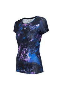 4f - Koszulka damska do biegania 4F H4L21-TSDF013. Materiał: materiał, dzianina, tkanina, poliester, elastan. Długość rękawa: krótki rękaw. Długość: krótkie. Sport: fitness, bieganie