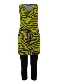 Sukienka shirtowa + legginsy rybaczki (2 części) bonprix pistacjowo-czarny z nadrukiem. Kolor: zielony. Wzór: nadruk