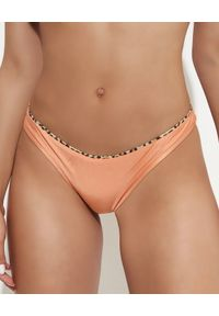 DEL MAAR - Pomarańczowy dół od bikini. Kolor: pomarańczowy. Materiał: materiał. Wzór: motyw zwierzęcy, nadruk