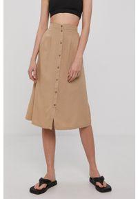Vero Moda - Spódnica. Kolor: beżowy. Materiał: tkanina