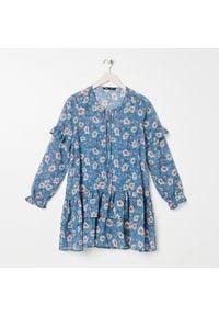 Sinsay - Sukienka w kwiaty - Granatowy. Kolor: niebieski. Wzór: kwiaty
