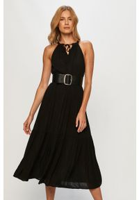 Czarna sukienka Jacqueline de Yong z dekoltem halter, midi, casualowa
