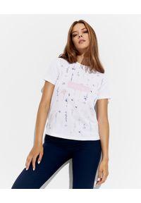 Ermanno Firenze - ERMANNO FIRENZE - Biały t-shirt z kwiatowym printem i logo. Okazja: na co dzień. Kolor: biały. Materiał: bawełna, jeans. Wzór: nadruk, kwiaty. Sezon: lato. Styl: klasyczny, casual