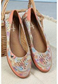 Maciejka - różowe baleriny maciejka skórzane ażurowe mozaika 03957-18/00-5. Kolor: różowy. Materiał: skóra. Wzór: ażurowy