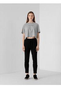 4f - Spodnie dresowe z lampasami damskie. Kolor: czarny. Materiał: dresówka