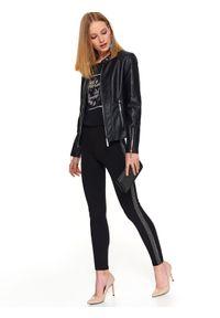 Czarne legginsy TOP SECRET na jesień, na imprezę, w kolorowe wzory