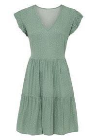Sukienka z częścią spódnicową z falban bonprix jasnozielony w groszki. Kolor: zielony. Wzór: grochy