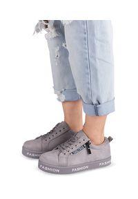 Szare buty sportowe Ideal Shoes trekkingowe, na zamek, w kolorowe wzory