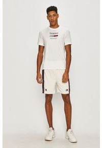 Tommy Sport - T-shirt. Okazja: na co dzień. Kolor: biały. Wzór: nadruk. Styl: sportowy