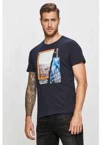 Niebieski t-shirt Tom Tailor Denim z nadrukiem, na co dzień, casualowy