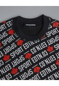 DSQUARED2 KIDS - Czarna bluza z nadrukiem 12 lat. Okazja: na co dzień. Kolor: czarny. Materiał: jeans, materiał. Długość rękawa: długi rękaw. Długość: długie. Wzór: nadruk. Sezon: lato. Styl: casual