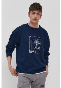 adidas Originals - Bluza bawełniana. Kolor: niebieski. Materiał: bawełna. Wzór: nadruk