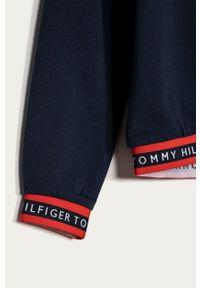 Niebieska bluza TOMMY HILFIGER casualowa, z kapturem, gładkie