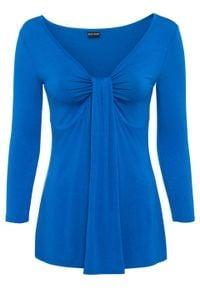 Shirt z drapowaniem bonprix niebieski polarny. Kolor: niebieski. Długość rękawa: długi rękaw. Długość: długie