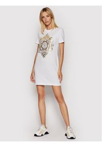 Versace Jeans Couture Sukienka codzienna V-Emblem Leaf 71HAOF05 Biały Regular Fit. Okazja: na co dzień. Kolor: biały. Typ sukienki: proste. Styl: casual