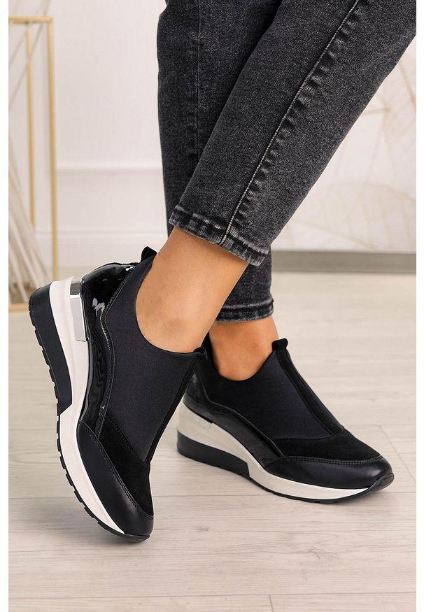 PRO-MODA - Czarne buty sportowe sneakersy polska skóra pro-moda 2574/001/l. Kolor: czarny. Materiał: skóra