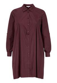 Czerwona sukienka Zhenzi szmizjerki, elegancka, z długim rękawem