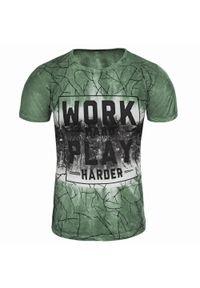 Zielony t-shirt z nadrukiem Recea casualowy, na co dzień