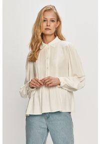 Biała bluzka Vila casualowa, krótka, gładkie, z długim rękawem