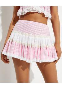 GADO GADO - Różowa spódnica w kratkę. Stan: podwyższony. Kolor: biały. Materiał: bawełna. Wzór: kratka