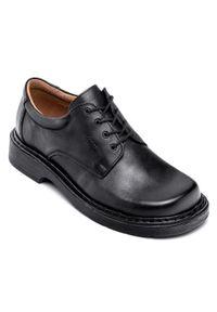 Czarne półbuty ESCOTT w kolorowe wzory, na sznurówki, eleganckie
