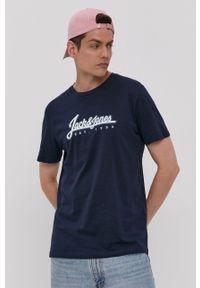 Jack & Jones - T-shirt. Okazja: na co dzień. Kolor: niebieski. Wzór: nadruk. Styl: casual