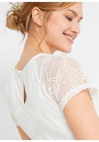 Sukienka ciążowa ślubna bonprix biały. Okazja: na wesele, na ślub cywilny. Kolekcja: moda ciążowa. Kolor: biały. Materiał: koronka. Wzór: koronka