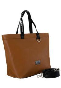 DAVID JONES - Shopper bag koniakowy David Jones CM5628. Materiał: skórzane