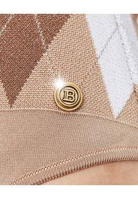 Balmain - BALMAIN - Body bez rękawów w romby. Kolor: biały. Długość rękawa: bez rękawów