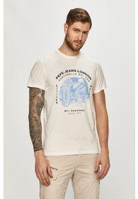 Pepe Jeans - T-shirt Damiel. Okazja: na co dzień. Kolor: biały. Wzór: nadruk. Styl: casual