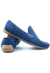 Faber - Niebieskie mokasyny męskie T9. Kolor: niebieski. Materiał: skóra, guma. Styl: wizytowy, klasyczny, elegancki