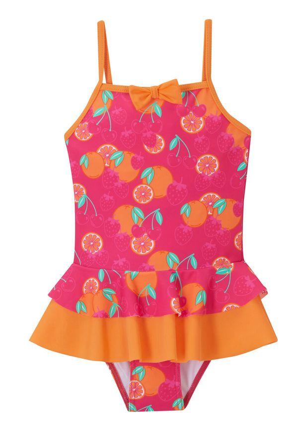 Kostium kąpielowy dziewczęcy bonprix pomarańczowo-różowy. Kolor: pomarańczowy