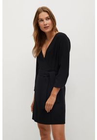 Czarna sukienka mango casualowa, mini, z długim rękawem