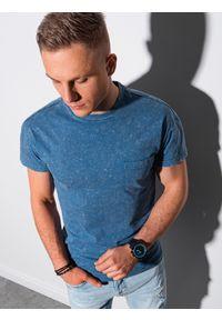 Ombre Clothing - T-shirt męski bawełniany S1375 - niebieski - XXL. Kolor: niebieski. Materiał: bawełna. Wzór: aplikacja. Sezon: lato, wiosna