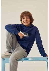 Niebieska bluza Mango Kids casualowa, na co dzień, z kapturem, z nadrukiem #5