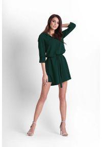 IVON - Zielona Rozkloszowana Sukienka Koszulowa z Paskiem. Kolor: zielony. Materiał: poliester, elastan. Typ sukienki: koszulowe